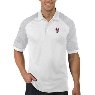 """メンズ ポロシャツ """"New York Mets"""" Antigua Engage Polo - White/Gray"""