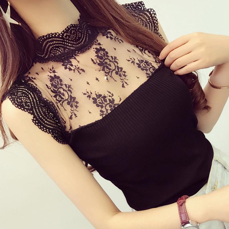 【現貨】韓系甜美網紗拼接上衣立領蕾絲衫女合身小可愛打底衫短版無袖背心