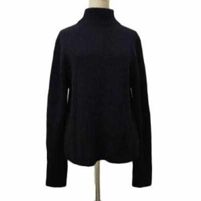 【中古】ミラオーウェン Mila Owen セーター ニット ハイネック リブ ウール 長袖 1 紺 ネイビー レディース