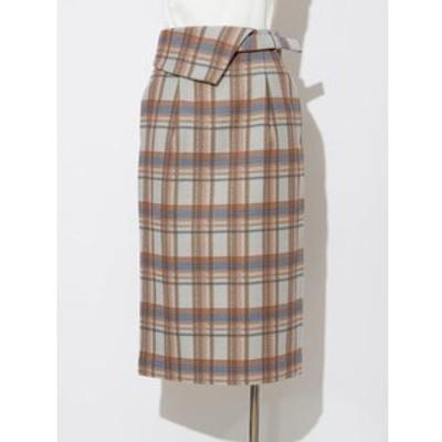 チェックフラップタイトスカート