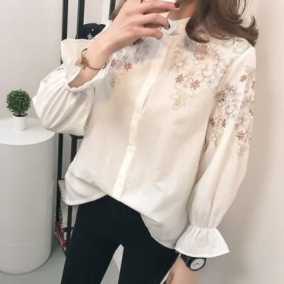シャツ ブラウス トップス 刺繍 花柄 ベルスリーブ 前開き ボタン 長袖 フェミニン オフィス mme4334