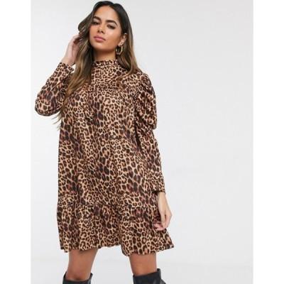 ミスガイデッド レディース ワンピース トップス Missguided smock dress in leopard