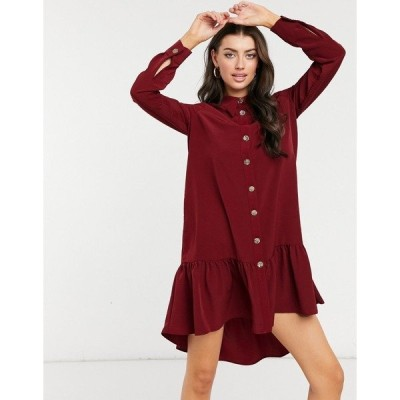 リバーアイランド レディース ワンピース トップス River Island gathered hem mini shirt dress in red Red