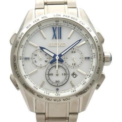 【中古S/新品同様】SEIKO セイコー ブライツ フライトエキスパート ソーラー電波時計 メンズ 腕時計 SAGA223 8B92-0AT0 シルバー   20227135