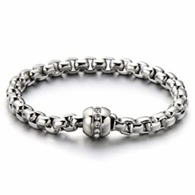 COOLSTEELANDBEYOND Stainless Steel Ladies Link Chain Bracelet Polished with Cubic Zirconia