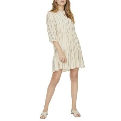 ヴェロモーダ レディース ワンピース トップス Vida 3/4 Sleeve Dress BIRCH STRIPS GR/LURX