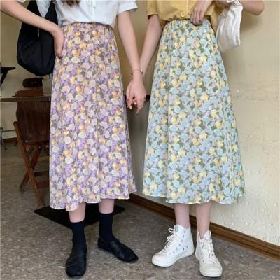 レディース ロングスカート ハイウェスト 夏 ミモレ丈 花柄 可愛い 女子 ボトムス
