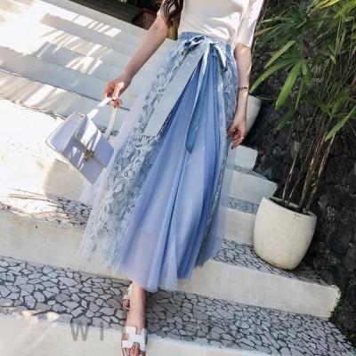 レーススカートレディースロングスカート4色チュールスカートファッションエレガント可愛い着やせ夏新作