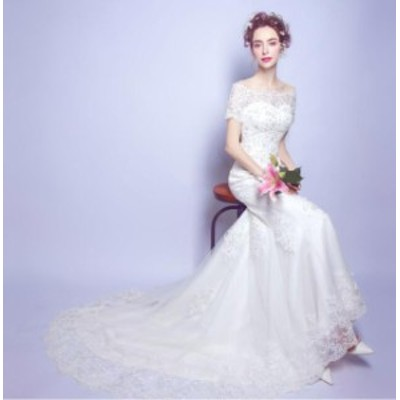 ウエディングドレス 2020春新作品 ブライダル 結婚式 マーメイドラインドレス ロングトレーンドレス 花嫁衣装 華やか補整レース コサージ