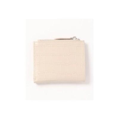 フロージュ florge 【牛革】クロコ型押しのスクエア二つ折り財布 (クリーム)