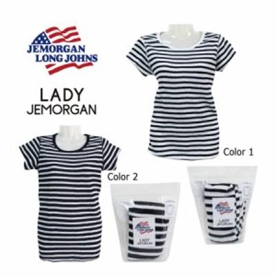 JEモーガン 半袖 Tシャツ レディース ボーダー  ラウンドT ジェーイーモーガン ワッフル 部屋着 ルームウェア サーマル素材