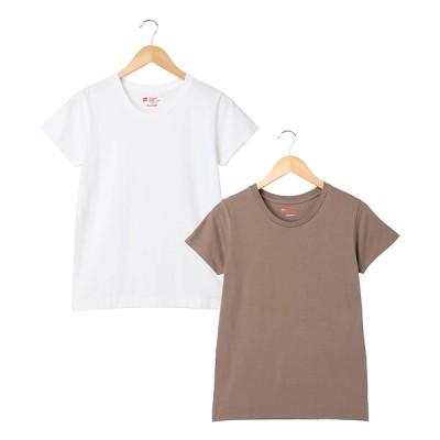 Hanes ヘインズ ジャパンフィット Tシャツ for HER 【2枚組】 ホワイト&ブラウン
