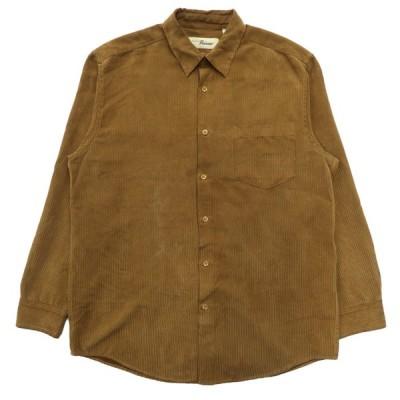 PENMAN ストライプ フェイクスウェードシャツ 長袖 ライトブラウン サイズ表記:M