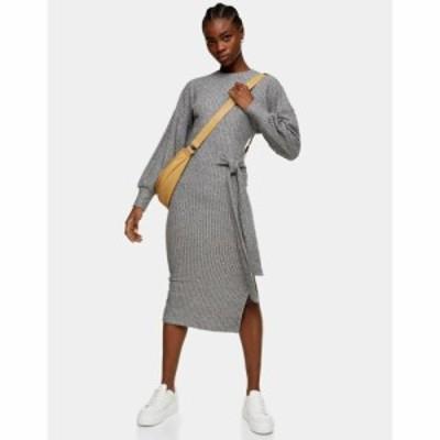 トップショップ Topshop レディース ワンピース ミドル丈 ワンピース・ドレス tie side fluf rib midi dress in grey グレー