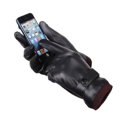 スマホ手袋 スマホ対応 メンズ手袋 手袋 メンズ PUレザー フェイクレザー 裏起毛 てぶくろ 手ぶくろ シンプル ベルト スマートフォン対応 スマホ
