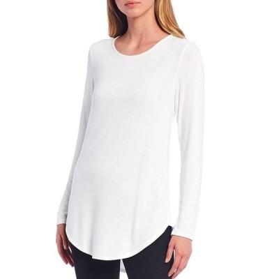 カルバンクライン レディース カットソー トップス Knit Jersey Long Sleeve Hi-Low Tunic Soft White
