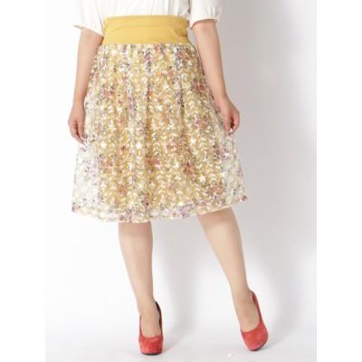 【大きいサイズ】【LL展開】チュール刺繍スカート 大きいサイズ スカート レディース