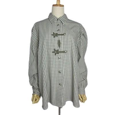 Solo チェック柄 チロルシャツ  レディースXL位 民族衣装 長袖 ヨーロッパ 古着