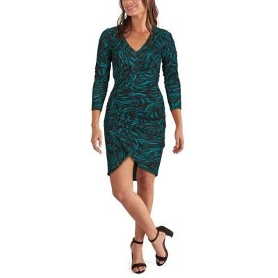 ゲス ワンピース トップス レディース Ruched Animal-Print Bodycon Dress Emerald/Black