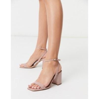 エイソス レディース ヒール シューズ ASOS DESIGN Havana barely there block heeled sandals in beige patent Beige patent