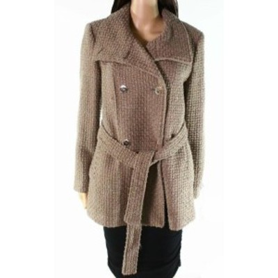 Calvin Klein カルバンクライン ファッション 衣類 Calvin Klein NEW Brown Womens Size PM Petite Double-Breasted Coat