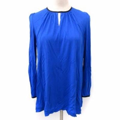 【中古】ランバンオンブルー LANVIN en Bleu カットソー ギャザー ストレッチ 長袖 青 ブルー 38 M相当 レディース