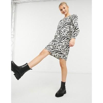 ヴィラ Vila レディース ワンピース ワンピース・ドレス mini smock dress in zebra print ホワイト
