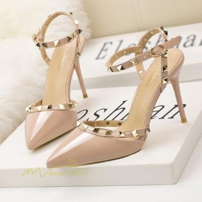 サンダル レディース ハイヒール シューズ 夏 靴 パーティー 結婚式 アンクルストラップ リゾート 歩きやすい エレガンス 美足 2021 ポインテッドトゥ きれいめ