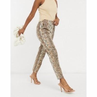 エイソス ASOS DESIGN レディース ボトムス・パンツ Leather Look Peg Trouser In Snake マルチカラー