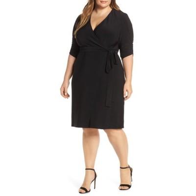 エリザジェイ レディース ワンピース トップス Ruched Sleeve Faux Wrap Dress BLACK