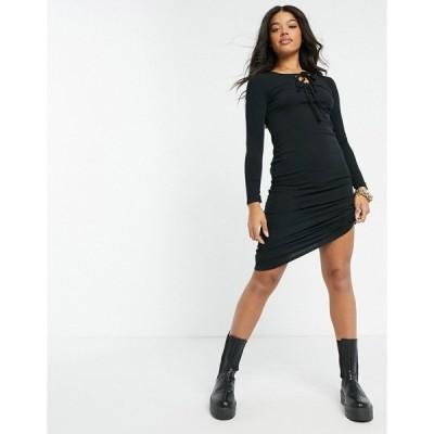 ニュールック レディース ワンピース トップス New Look tie front ribbed midi dress in black Black