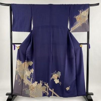 訪問着 秀品 蔦 花唐草 金彩 ちりめん 濃紫 袷 身丈161cm 裄丈64.5cm M 正絹 中古