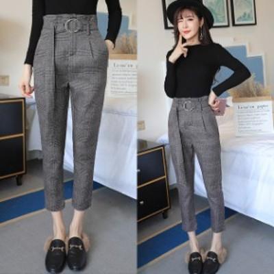 グレンチェック パンツ スラックス ストレート チェック チェックパンツ ベルト ベルト付き 小柄 小さいサイズ 小さい 服