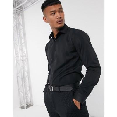 ロックストック Lockstock メンズ シャツ トップス Charter point collar shirt in black stripe ブラック