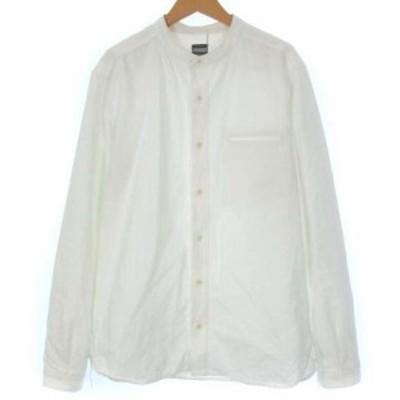 【中古】桃太郎ジーンズ MOMOTARO JEANS シャツ バンドカラー ノーカラー オックスフォード 長袖 ホワイト 白 40