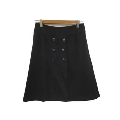 【中古】ロペ ROPE スカート 台形 ラップ風 膝丈 ウール 7 黒 ブラック レディース 【ベクトル 古着】