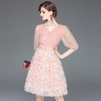 Vネック パフスリーブ 装飾 レース シンプル ふんわり ウエストマーク 膝丈 ドレス