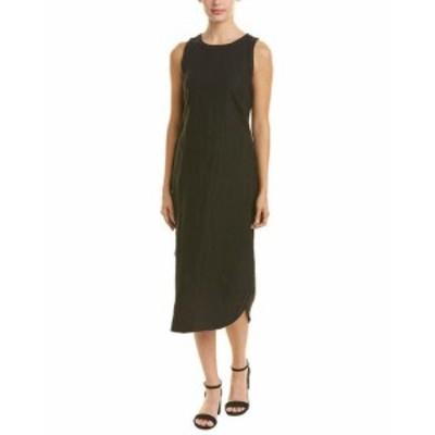 Three Dots スリー ドッツ ファッション ドレス Three Dots Tie-Front Linen Midi Dress S Black