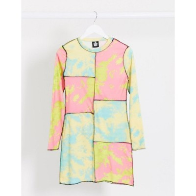 ラギドプリースト ミニドレス レディース The Ragged Priest mini dress in colour block tie dye エイソス ASOS マルチカラー