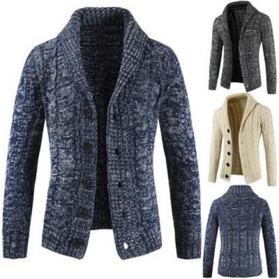 カーディガン メンズ ニットジャケット ニットセーター アウター 秋冬 セーター 編み タートル 大きいサイズ 学生