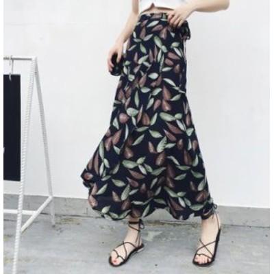 ハイウエストロングシフォンビーチスカート(リーフ柄) 春夏 かわいい カジュアル OL