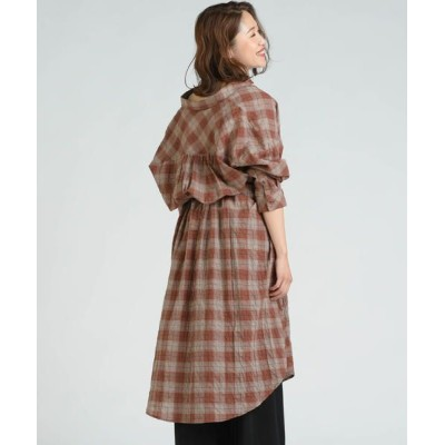 LIPSTAR/リップスター チェック柄シャツワンピース ブラウン系その他 M