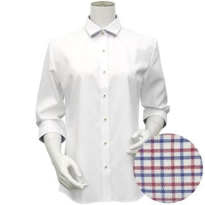 【透け防止】 ワイド 七分袖 形態安定 ウィメンズシャツ
