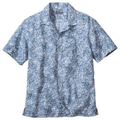 メンズ 半袖ホームスパンキャンプシャツ