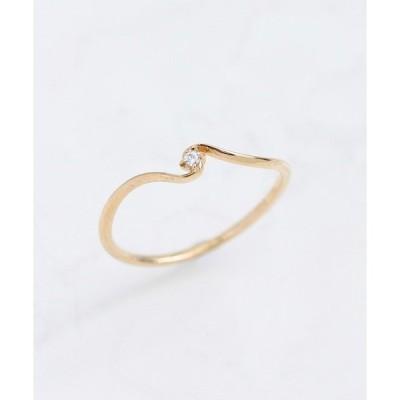 指輪 K10 ダイヤモンド ツイスト ピンキーリング