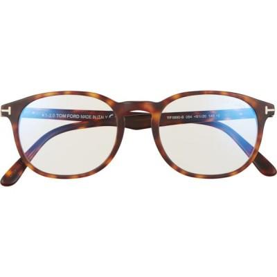 トム フォード TOM FORD メンズ メガネ・サングラス 51mm Blue Light Blocking Glasses Red Havana/Clear Blue Block