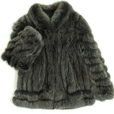 美品▼FOX フォックス 本毛皮コート グレー×ブラウン 毛質柔らか・ボリューム◎