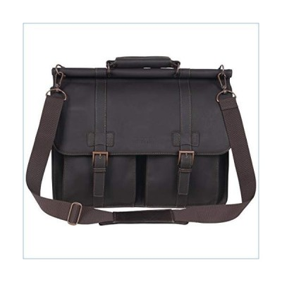 """Kenneth Cole Reaction Colombian Leather Dual Compartment Flapover 15"""" Laptop Dowelrod Business Portfolio, Brown並行輸入品"""