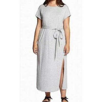 Sanctuary サンクチュアリ ファッション ドレス Sanctuary NEW Gray Womens Size 3X Plus Belted Slit Sheath Dress