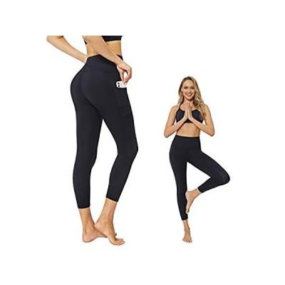 JEPOZRA ハイウエスト ヨガパンツ ポケット付き 女性用 腹部コントロール トレーニング US サイズ: Large カラー: ブラック